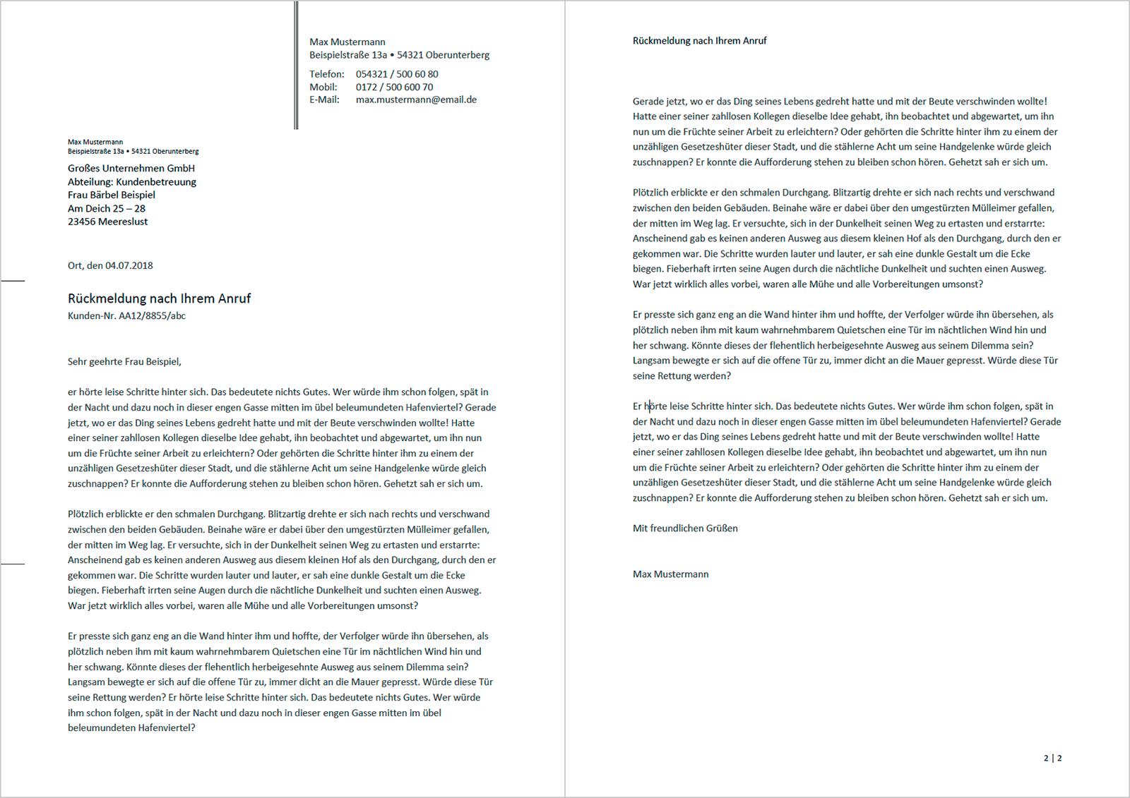 Professionelle Und Kostenlose Vorlage Für Privaten Briefbogen